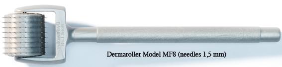 Micro-Needling in Wien: Dermaroller mit 1,5mm langen Nadeln zur Behandlung von Falten, Narben und Dehungsstreifen; Anwendung nur in der Ordination